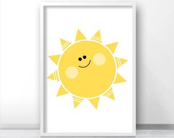 Sun Kids Wall Art Print, Nursery Print, Printable Kids Art, Instant Download Sunshine Nursery Printables, Yellow Nursery Decor, Kids Print