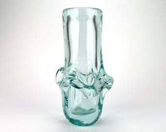Vintage Turquoise Glass Vase, Modernist Azure Glass Vase, Skrdlovice, Jirina Zertova, 1960s Vase, Sixties Decor, Czech Glass, Mid Century