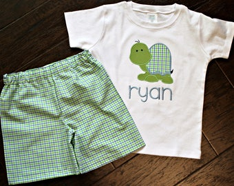Baby Boys, Toddler Boys, Boys Personalized Tshirt, Sweet or Polka Dot Turtle Applique Tshirt & Short Set size 12m, 18m, 24m/2t, 3t, 4t, 5t 6