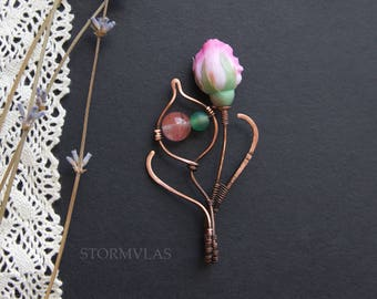 Wire Wrapped Pendant Polymer clay Rose Pink Flower Necklace Mother gift Wire wrap jewelry  Copper jewelry Pink Rose Pendant Flower Pendant