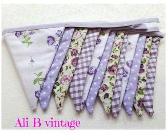 purple floral bunting vintage style bunting double sided bunting vintage floral bunting purple flower bunting nursery bunting garden decor