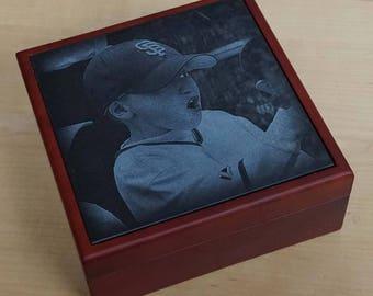 Lined Mahogany Keepsake Box ~ Laser Engraved Photo Box ~ Engraved Keepsake Box ~ Jewelry Box ~ Treasure Box