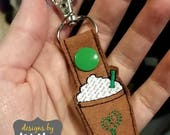 frap cup coffee cappucino happy MINI snap tab key fob keychain embroidery design sew pes dst +more Instant Download! bean stitch