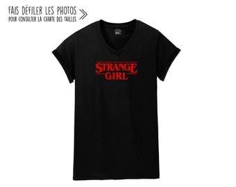 Strange Girl.Unisex V-NECK Tshirt.Petite Gazelle Atelier