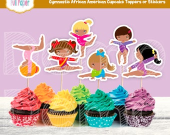 Gymnastic African American Cupcake Toppers or Stickers, Gymnastic Toppers, Gymnastic Girl, Party Girl, Gymnastic