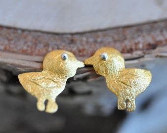 Gold Baby Chick Earrings in 100% Sterling Silver 925, Baby Chicks, Sterling Silver Jewelry, Chick Earrings