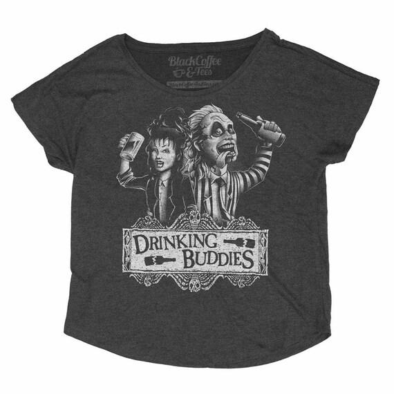 Beetlejuice Halloween  Shirt - Beetlejuice and Lyida Drinking Beer- Womens Craft Beer Shirt - Womens Halloween Dolman