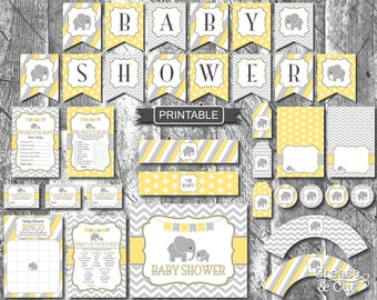 Yellow And Grey Baby Elephant Baby Shower Decorations Games Package Digital  Printable PDFs Instant Download Gender