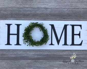 Farmhouse Home Sign - Rustic Sign - Wall Decor - Home Decor - Shabby Chic - Boxwood Wreath Sign