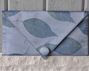 Blue Leaves/Gold Metallic Clutch