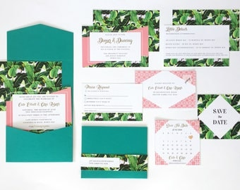 Wedding Invitation Suite - Tropical Palm Springs - Beverly Hills Hotel - Printed invitations