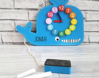 Clock and Chalkboard Whale Toy, Learning toy, Numbers, Nursery, Arts and Crafts - 00073