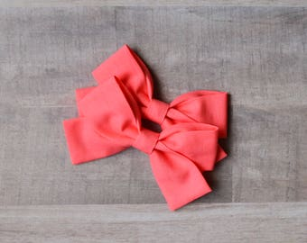 Solid Pigtail Sets - Cotton Bows - Baby Pigtail Bows - Pigtail Cotton Bows