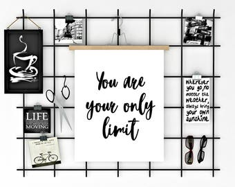 You are your only limit, Cubicle decor, Inspirational quote, Printable quote art, Motivational gift, Workspace decor, Cubicle printable
