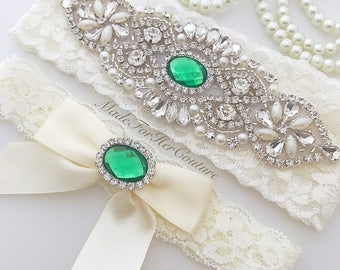 Emerald Green Wedding Garter, Emarald Green Bridal Garter, Green Garter Set, Green Wedding Garter, Vintage Garter, Wedding Garter Set,
