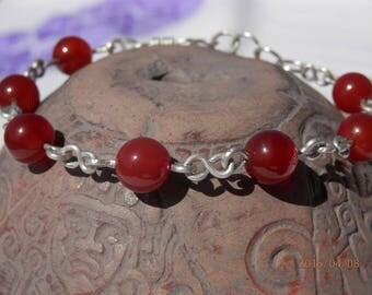 Bracelet large carnelian 925 silver wire