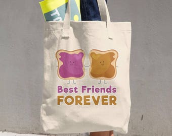 Tote Bag Peanut Butter and Jelly Best Friends Cotton Tote Bag - Great Grocery Bag - All-purpose Natural Cotton Tote - Made in the USA