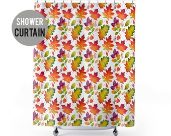 Shower Curtain Autumn Leaves Pattern Shower Curtain - Fall Leaf Decor
