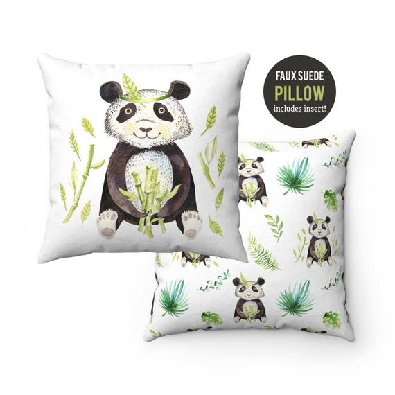 Pillow WITH INSERT - Panda Bear with Bamboo Pillow with Filling - Faux Suede 14x14, 16x16, 18x18, 20x20