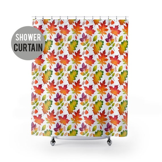 Shower Curtain Autumn Leaves Pattern Shower Curtain - Fall Leaf Decor