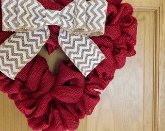 Red Burlap Valentine Wreath, Burlap Wreath, Heart Wreath, Wreath for Front Door, Small Wreath, Spring Wreath, Valentines Day Wreath, Chevron