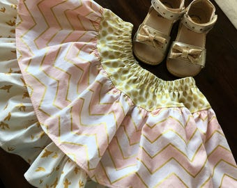 Pink and gold twirly skirt