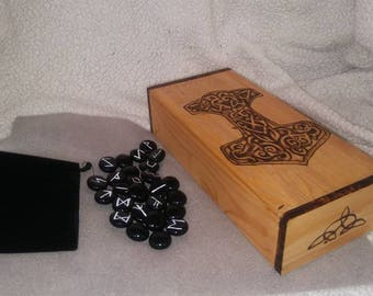 Handburned Viking Heathen Thor's Hammer Wooden Box