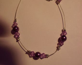 Bracelet purple pearl beads, bicone purple faceted beads