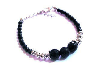 Bracelet dark blue glitter and silver beads