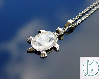 Rock Crystal Turtle Natural Gemstone Pendant Necklace 50cm Chakra Healing Stone With Pouch FREE UK SHIPPING