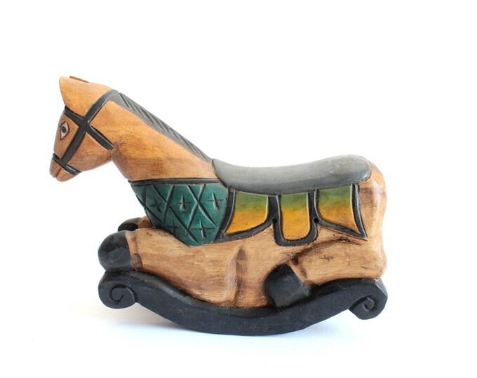 Featured listing image: Folk Art Rocking Horse, Carved Wooden  Sculpture