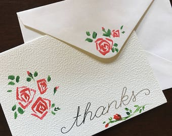 Painted Note Card set, card and envelope, Roses Thank you note card, hand painted, Cerena Levene, CerenaLevene,  painted envelope stationery