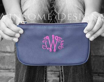 Blue Gift With Initials-Personalized Gift in Navy-Monogram Wristlet-Personalized Gift in Blue-Monogram Gift in Navy-Monogram Gift in Blue