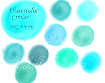 Watercolor clipart circles, Watercolor circles, Turquois watercolours, 10 PNG+10 JPG, watercolor bubbles clipart, Instant Download