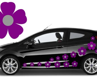 32, Purple & silver flower car decals,stickers in three sizes