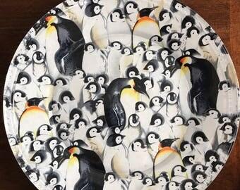 Penguin Platter, Party Platter, Decoupage Platter