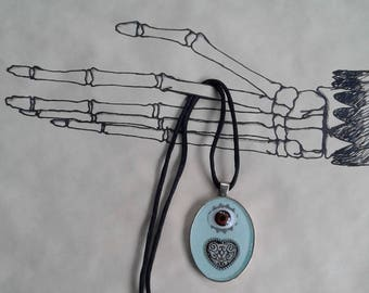 Steampunk Doll's Eye and Heart Resin Pendant