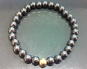 Bracelet with Hematite and Pearl plated gold