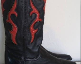 Vintage Never Worn Dingo Size 5 Red and Black Leather Cowboy Cowgirl Boots