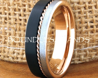 Black  Rose Tungsten Wedding Band Customized Tungsten Band  Rose Rope Design Tri Color Band  Laser Engraved Ring Mens Tungsten Ring His Hers