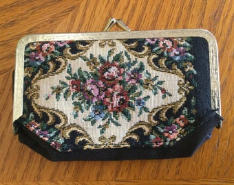 FLORAL TAPESTRY Make Up Purse      TAPESTRY Coin Purse