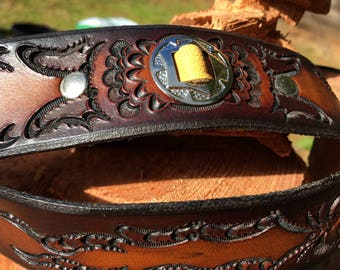 Hand Tooled and Dyed Saddle Leather Guitar Strap