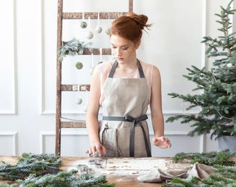 Full Linen Apron with two pockets - Unisex Natural Kitchen Apron