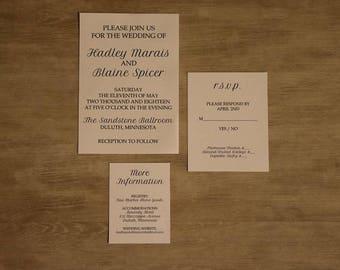 Classic, Customizable Wedding Invitation, Cursive Invitations
