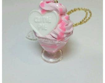 Cutie Pie Silicone Resin Fairy Kei / Sweet Lolita Sundae Necklace on 18 Inch Gold Chain