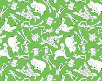 Toy Story Fabric / Character Outlines in Green Fabric / 85410105 #02 Camelot / Toy Story Fabric by the yard / Yardage and  Fat Quarters