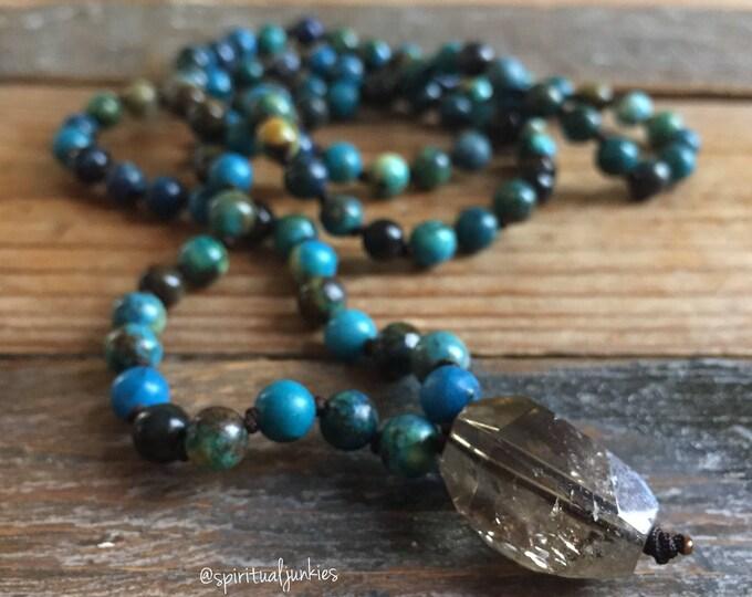 Multicolored Chrysocolla + Smoky Quartz Mini Mala | 108 Bead | 6 mm | Handknotted | Spiritual Junkies |Yoga + Meditation | Color Enhanced