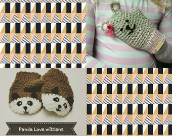 Panda mittens brown black and white