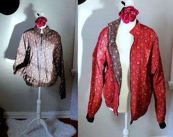 Vintage Bright Spring Bomber Jacket // Anthemion Print Red & Black Reversible Zip Up Coat // 1980's Lightweight Cotton Mod Fun Retro Coat
