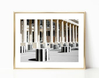 Paris Photography // Palais Royal // Large Wall Art // Gallery Wall Prints // Paris Wall Art // Paris Decor // Black and White
